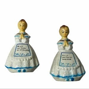 Vintage Praying Girls Salt And Pepper Shaker Set